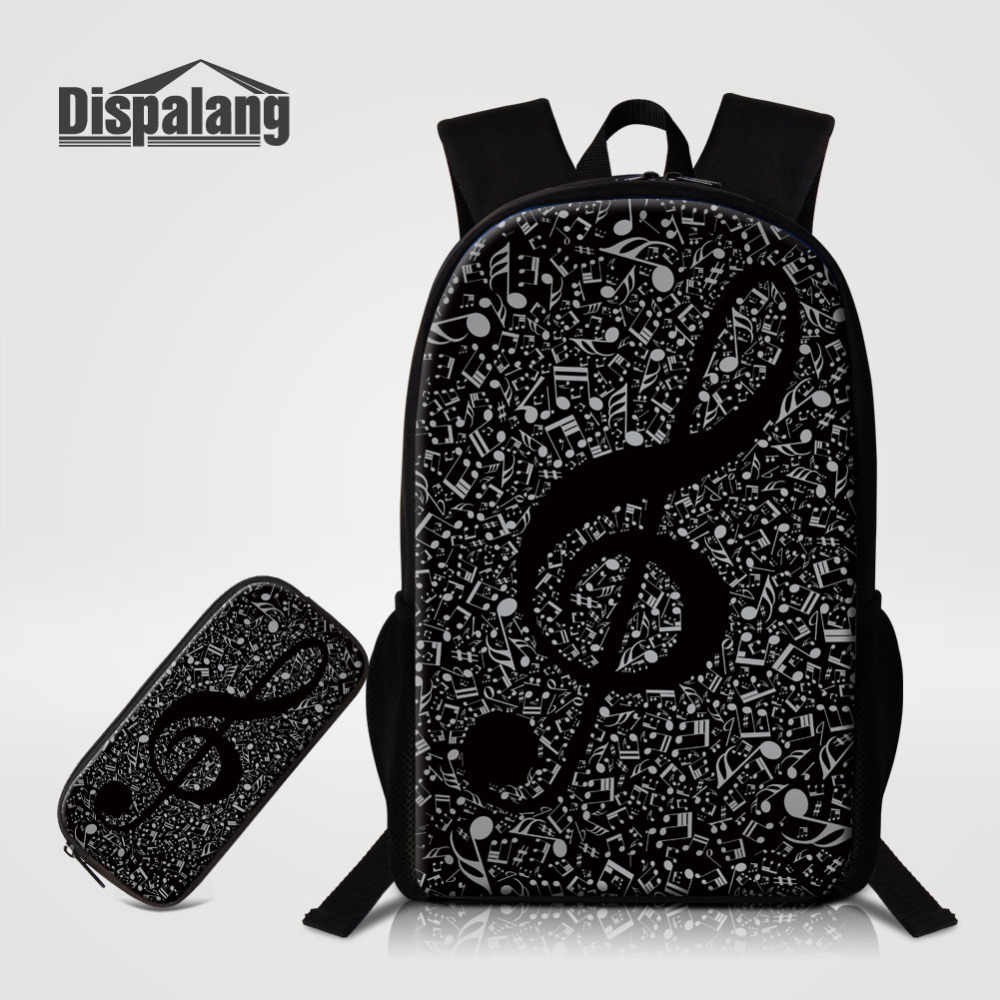 Dispalang 2pcs set Musical Note Print Backpacks Large School Bags with Pencil  Bag For Teenagers f152126026168