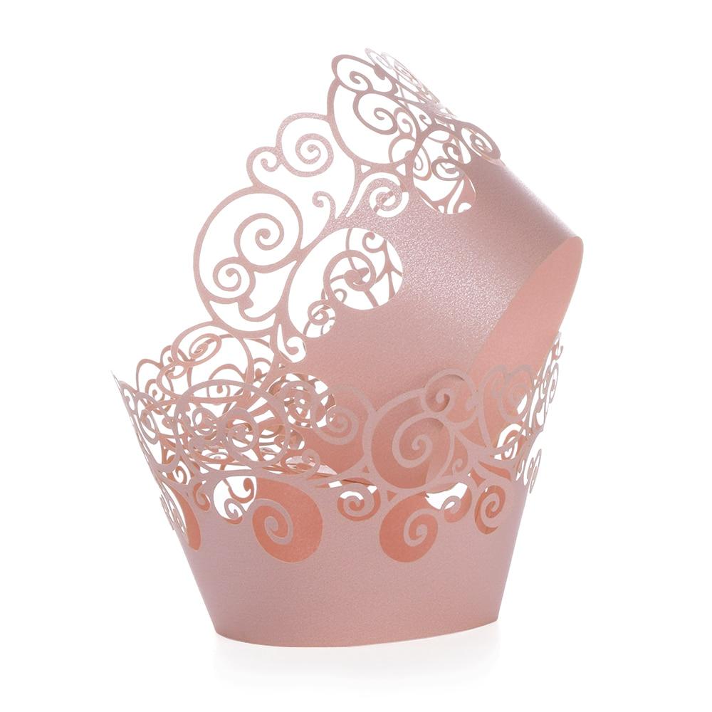 12 pçs/lote pequena videira laço corte a laser cupcake envolvedora forro de cozimento copo de bolo de papel oco diy cozimento fondant cupcake