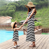 Baby Girls Clothes Dress Mother Daughter Children Dress Clothing Fashion Mom And Kids Couple Look Stripe