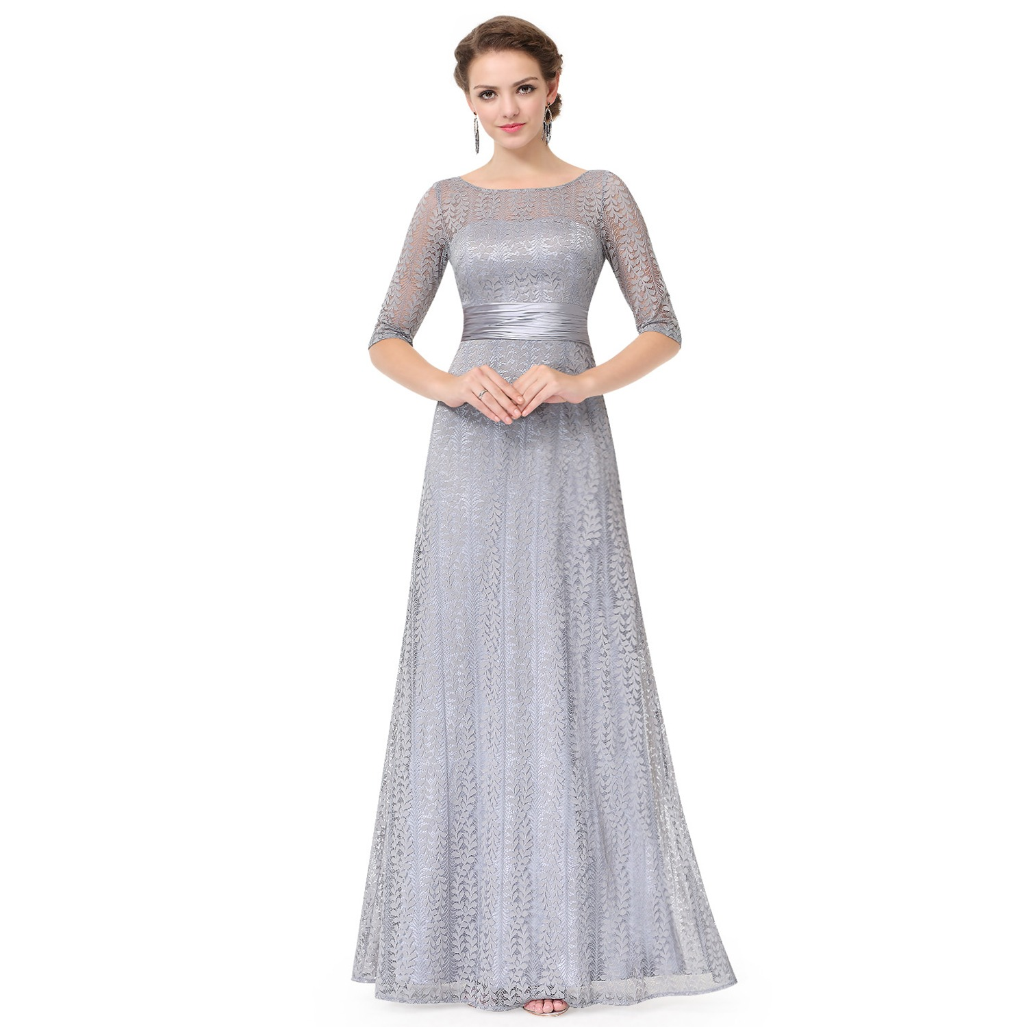 1e6dbf25887 Women s Elegant Long Mother of the Bride Dresses 2018 Ever Pretty EP08878  Cheap Grey Lace Floor