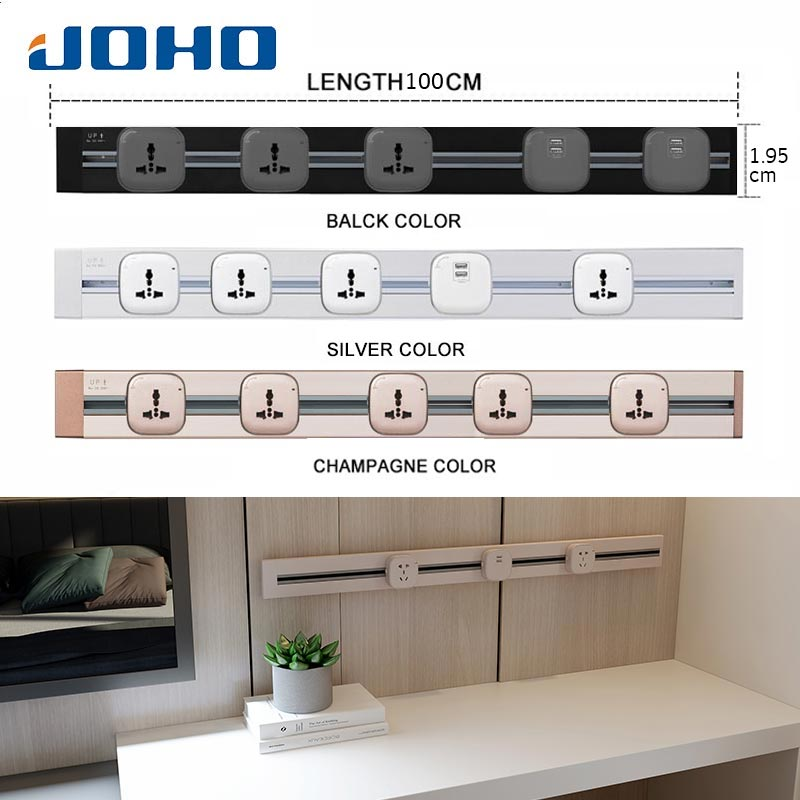JOHO 100CM Aluminum Wall Socket Smart Home Dual USB Port Charger Adapter 8000W Rectangular EU Plug Socket Power Outlet