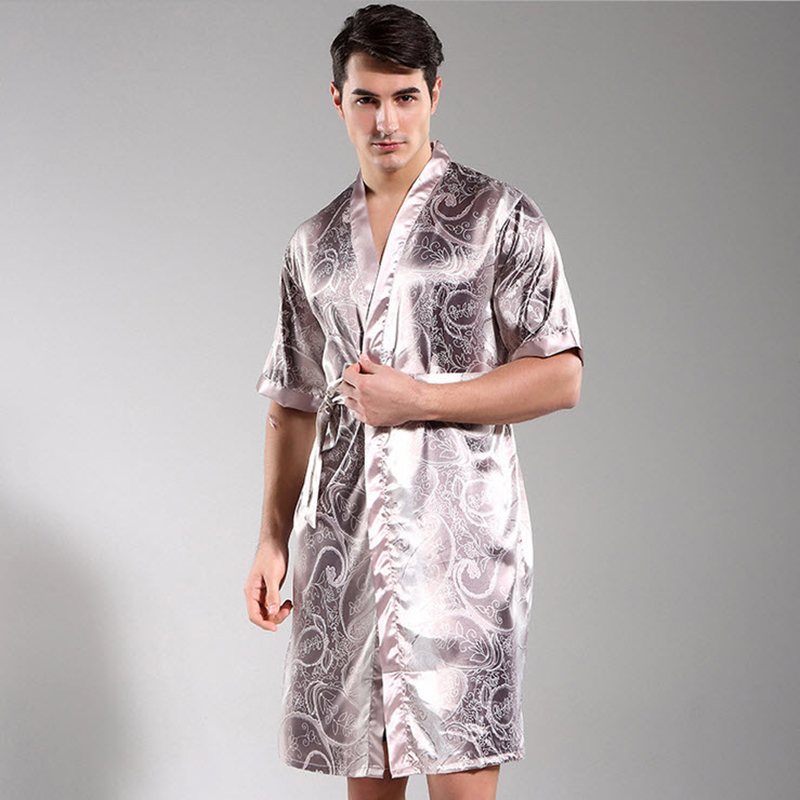 Men S Dressing Gowns: New Arrival Men's Print Long Warm Nightgowns Short Sleeve