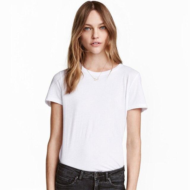 afbec80997 2 pçs lote 100% Algodão Básica Camisa Branca de T Simples Mulheres  Feminista BTS