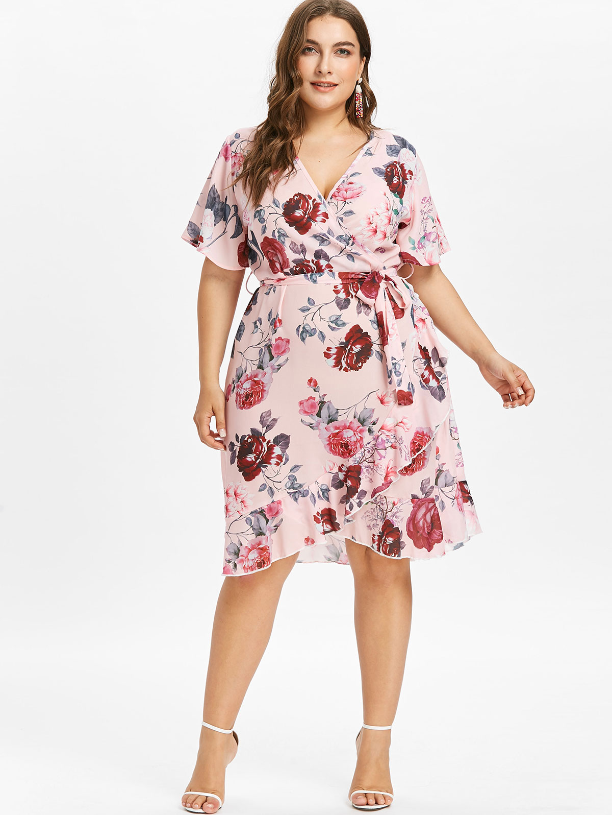 US $29.09 |Gamiss Women Plus Size Short Sleeve Floral Print Surplice Dress  Faux Wrap Knee Length V Neck Asymmetrical Belted Dress Vestidos-in Dresses  ...