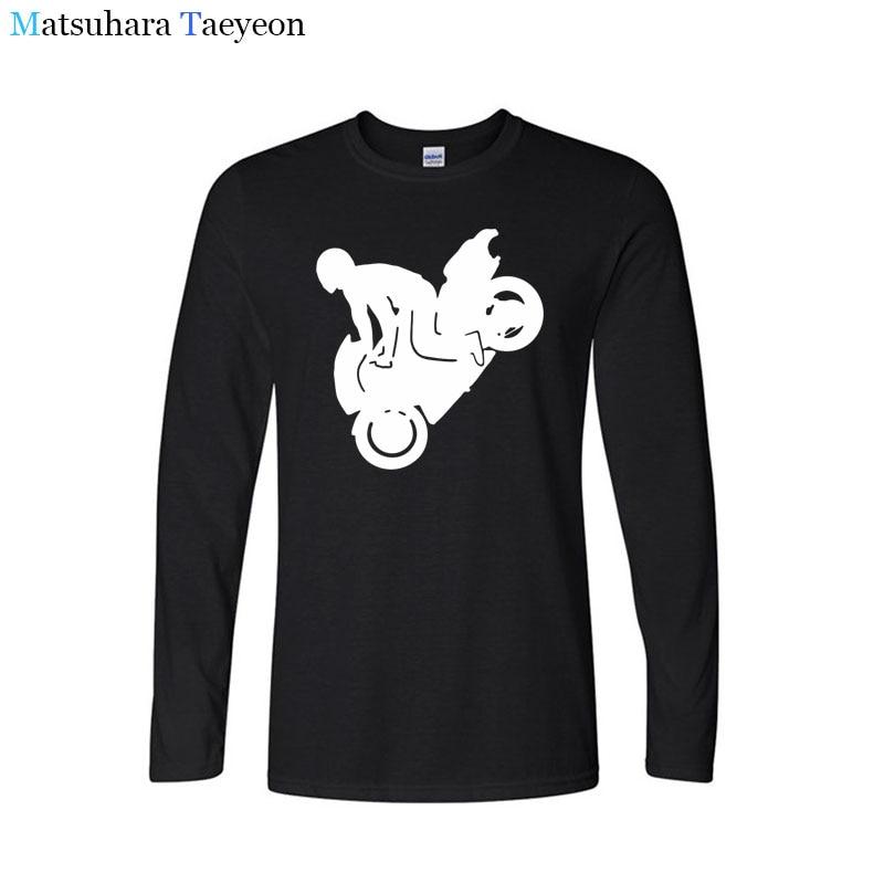 Matsuhara Taeyeon T-shirt brand men long sleeve round collar The Motorcycle Stunt Riding O-Neck tshirt printing t shirts