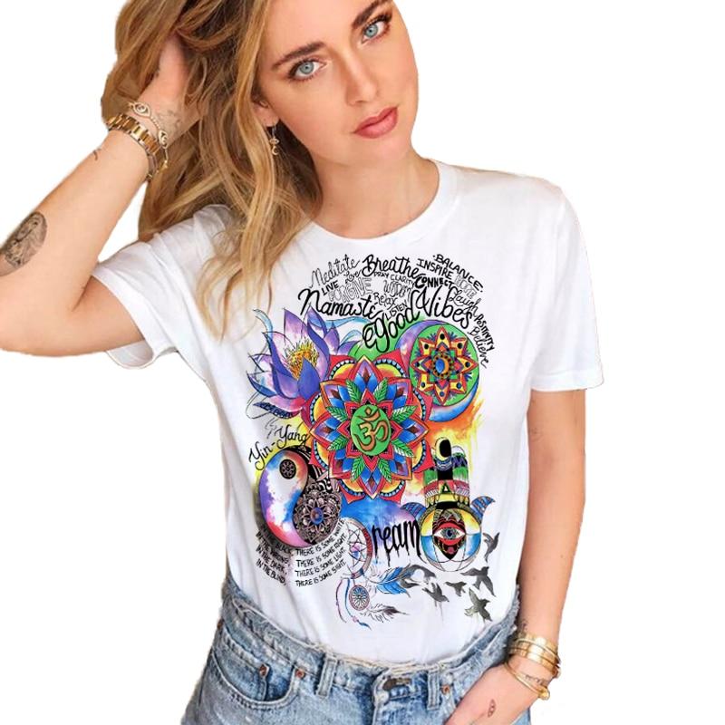CDJLFH Brand 2018 Summer T-shirt Hot Women White Harajuku Graffiti Print Top Shirt Short Sleeve O-neck shirt Women Tees invisible bra