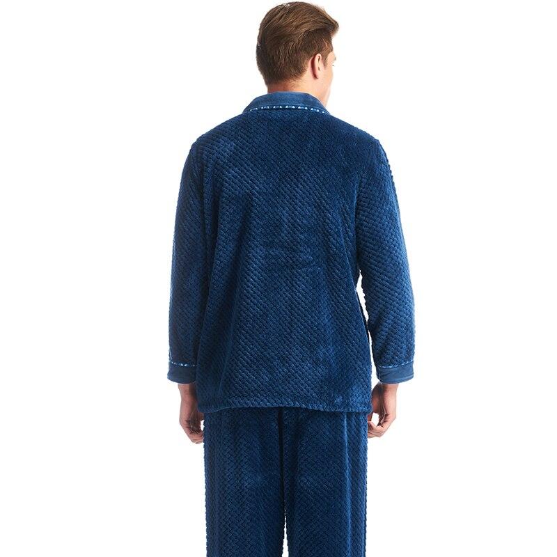 THREEGUN Winter 2019 New Flannel Warm Pajamas Men Thick Fleece Pajama Sets Plaid Suits Casual Home Clothes Pijama Lounge Wear
