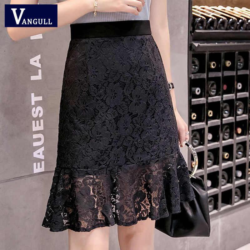 Vangull 4XL koronkowa spódniczka kobiety elegancka letnia wysoka talia spódnice ołówkowe moda Hollow Out 2019 urząd Lady kobiet dopasowana spódnica mini