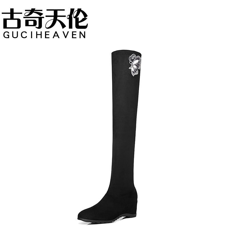 Guciheaven 8553 Soft Leather Fashion Boots,Ladies Thigh High Heel Boots,Round Toe Slip-on Footwear,Platform Rough Heel Pumps босоножки guciheaven cfk8185 2015