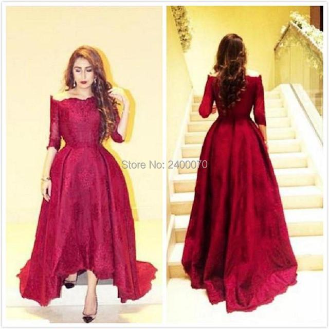 Elegante Rote Spitze Abendkleider mit Hülsen 2016 Myriam Fares ...