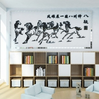Chinese style Success Eight Horse Figure 3d Wall Stickers Living Room Bedroom Office Background Wall Decor Mirror Wall sticker