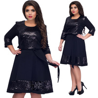 British Sweet Princess Lolita Elegant Women's Dress Plus Size 6XL Blue Red A Line Midi Dress Large Size 2018 Party Sequins Dress