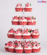 YestBuy 4 Tier Maypole Round Clear Wedding Party Tree Tower Acrylic Cupcake Display Stand  (4 (10cm gap))(12.8 Inches)