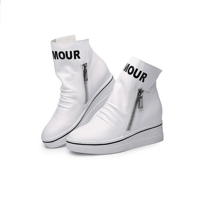 O Envio gratuito de Sapatos Mulher Sapatos Casuais Zipper Calcanhar Aumentando Sapatos Casuais Zapatillas Mujer Zapatos De Tacon alto Preto