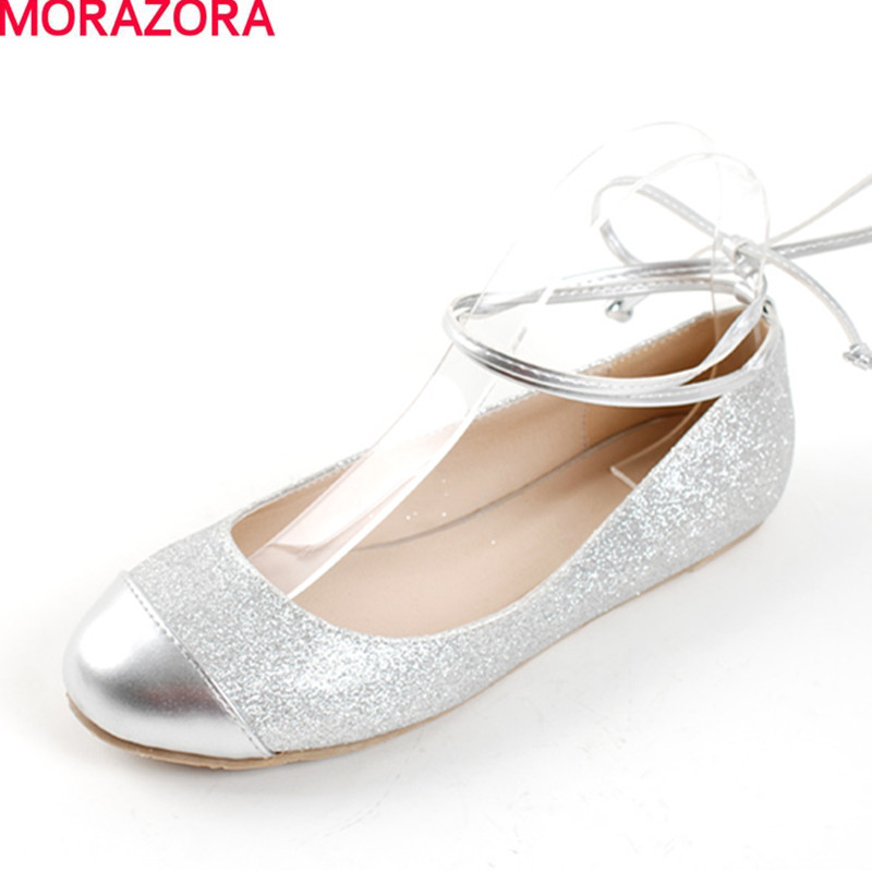 MORAZORA Big size 33-43 2017 spring autumn fashion lace up women flats round toe solid silver ballet  flat shoes woman spring autumn solid metal decoration flats shoes fashion women flock pointed toe buckle strap ballet flats size 35 40 k257