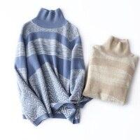 Высокое качество Свитер с воротником зимняя женская мода градиент Цвет чистый кашемир свитер Для женщин