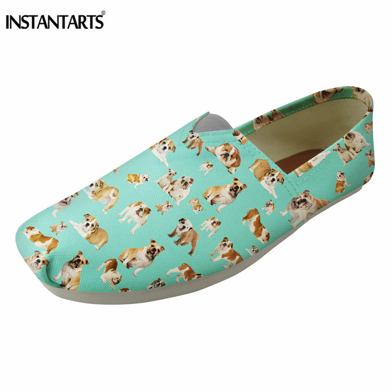 INSTANTARTS Pug Dog Puzzle Printing Women Casual Flat Shoes Breathable Canvas Loafer Shoes Girls Summer Slip On Lazy Shoes Lady 2018 women summer slip on breathable flat shoes leisure female footwear fashion ladies canvas shoes women casual shoes hld919