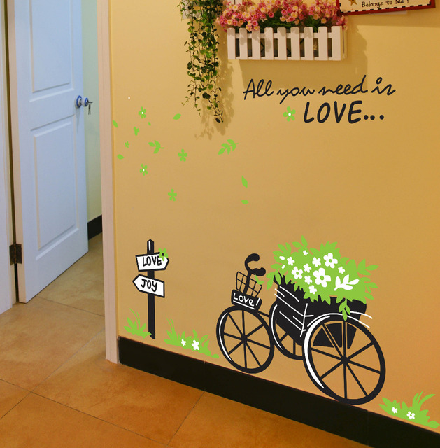DIY green flora bike romantic You Need Love home decals wall ...