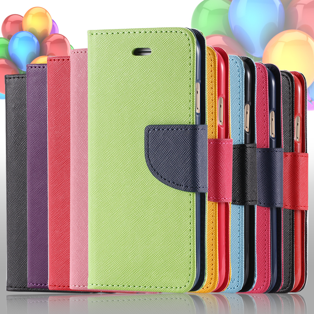Dual Color Flip Leather Phone Bag Case For iPhone 6 7 6S 8