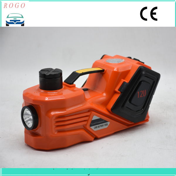 orange color  multifunctions auto electric lifting tyre jack with big led light for suv lift