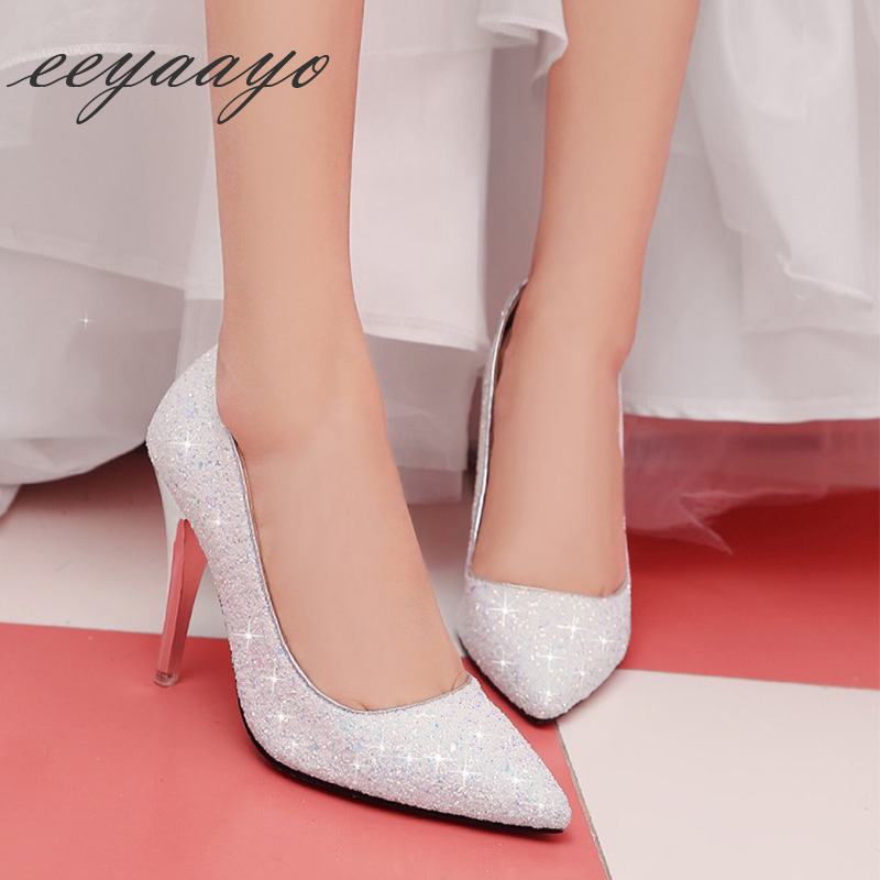 New Spring/Autumn Women Pumps High Thin Heel Pointed Toe Bling Bridal Wedding Shoes Sexy Ladies Women Shoes White High Heels miquinha peep toe women pumps sexy high thin heel traditional button design women shoes runway super star stylish shoes bridal