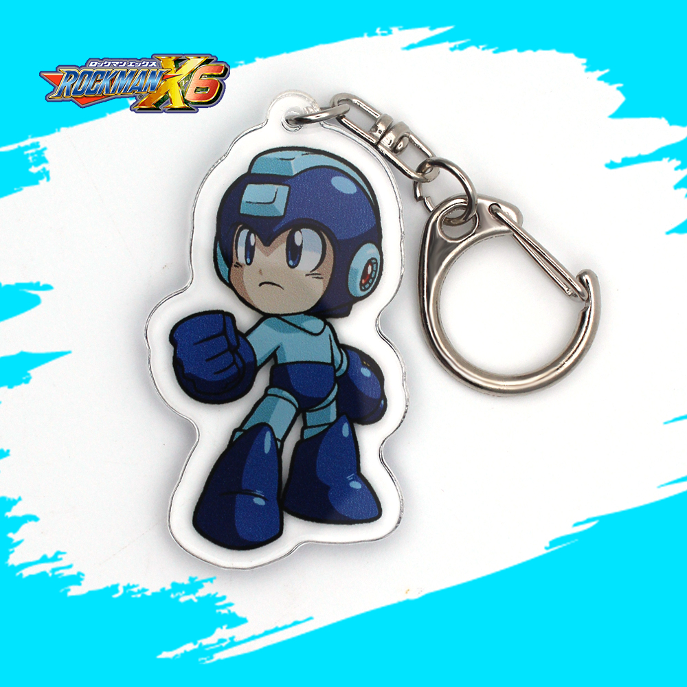 OHCOMICS Anime Otaku Rockman PVC Keychain PVC Keyring Costume Pendants Jewelry Accessories Ornament Decor Key Rings Gifts