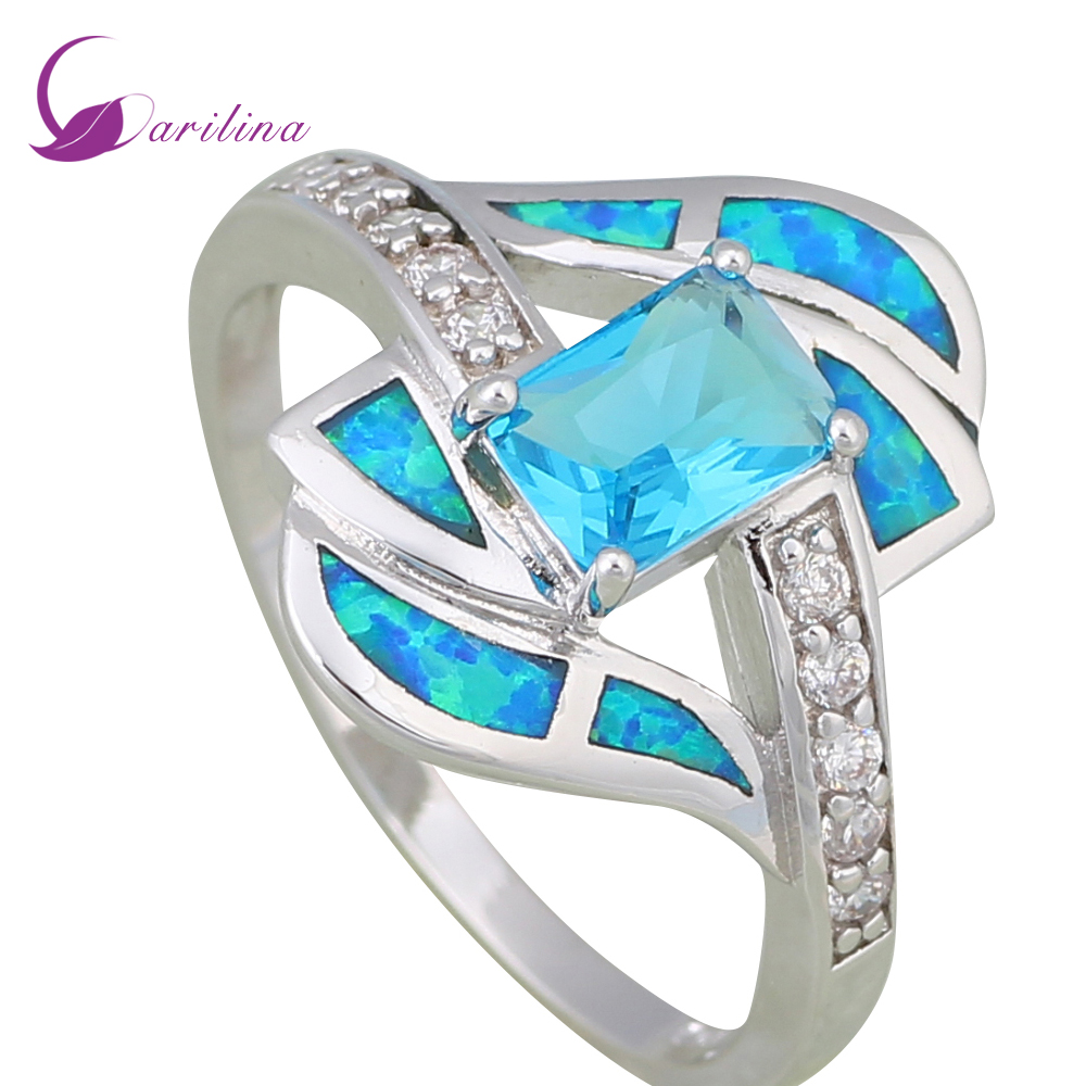 Distinctive Brand designer Blue Cubic Zirconia Women's rings Blue Fire Opal Silver  jewelry size 5 6 7 8 9 10 R596