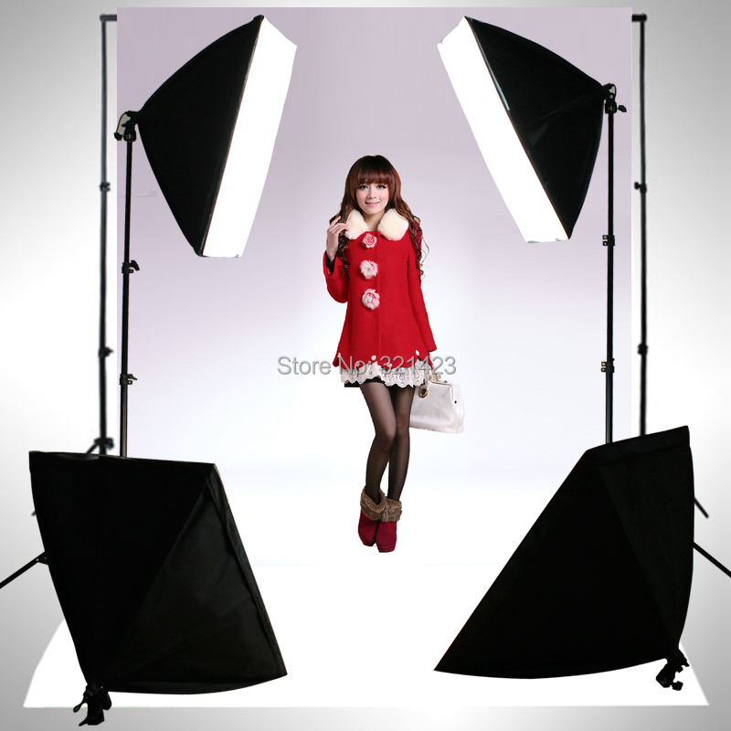 Photography Rectangle Continuous SoftBox Lighting Kit 4pcs 50x70cm Softbox 2pcs Light Holder Stand Photo Studio Equipment Set 2pcs godox sl100y 3300k video continuous light 60x90cm softbox light stand photo studio equipment kit yellow version