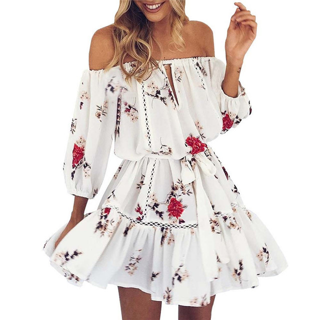 04edc724f2e6 Best Selling Fashion High Qualit Womens Summer Off Shoulder Floral Print  Sundress Party Beach Short Mini Evening party dress #30