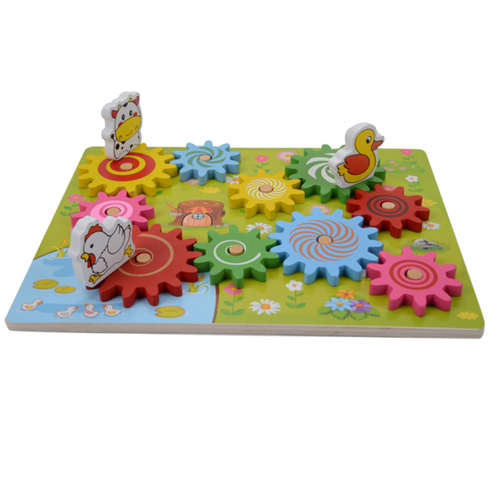 Color Random High Quality Kids Wooden Gear Assembly Block Animal Assembled Building Blocks Materials Toys