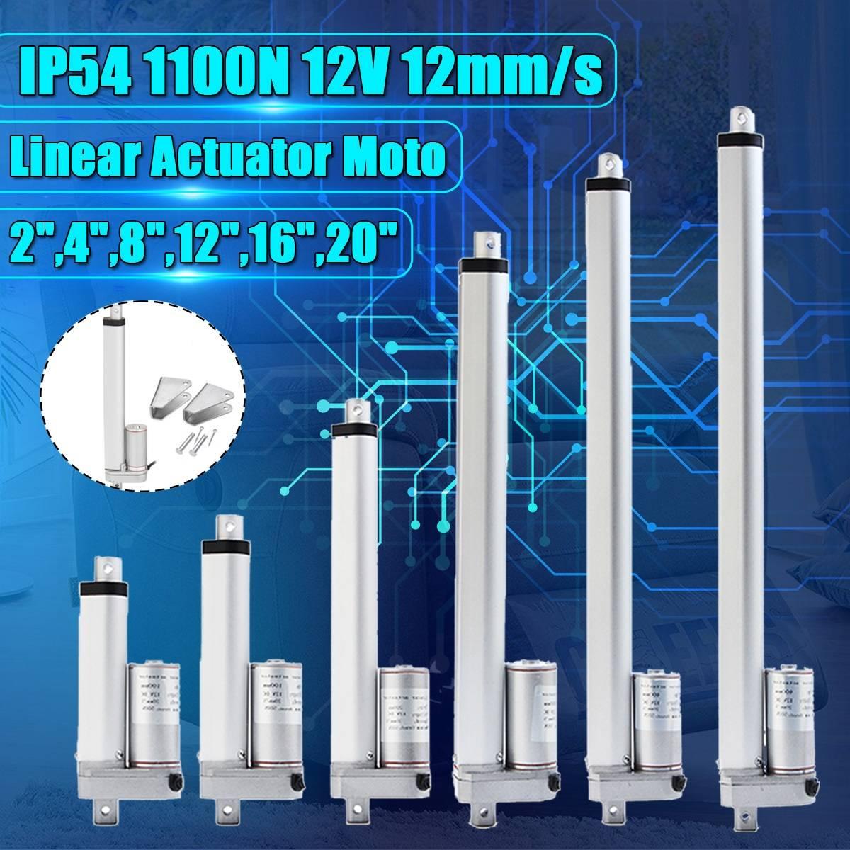 IP54 2-20 Polegada 1100N 12 V 12 mm/s Curso Do Atuador Linear Elétrico Linear DC Controlador Do Motor