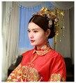 Estilo Tradicional chino de La Vendimia Cheongsam Phoenix Broche de Pelo de La Borla de La Corona Del Tocado Nupcial Accesorio Para El Pelo