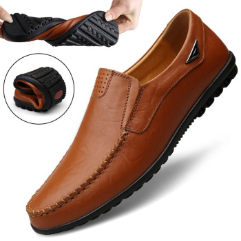 Genuine Leather Moccasin Black Flats Breathable Men's Shoes