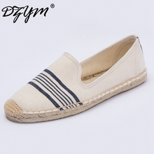 DZYM 2017 Spring Summer Classic Stripe Canvas Espadrille Lino Hemp Women Flats Casual Breathable Loafers Zapatos Mujer