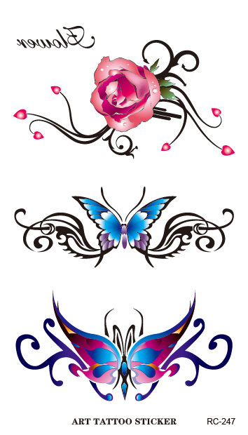 RC2247 Waterproof Flash Tattoo Sticker Color Butterfly Rose Temporary Tattoo Stickers Body Art Fake Tattoo Foil Decal