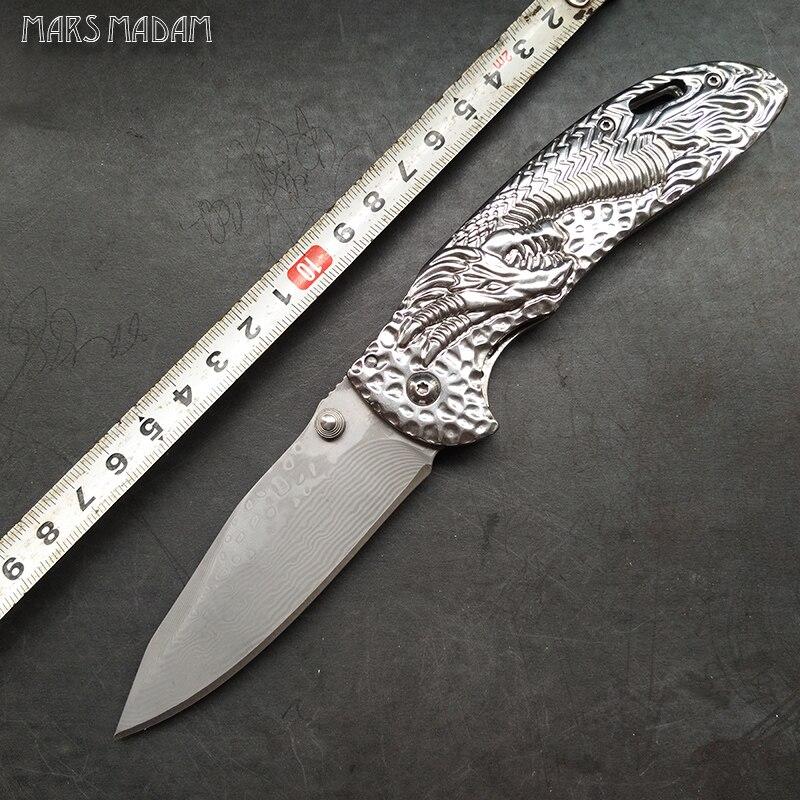 Tökéletes Damaszkusz-összecsukható kés A sárkánymag megjelölt nosztalgiája Kiváló minőségű ajándékkés Kültéri kempingszerszám kés