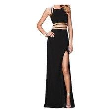 White /black Golden Edge 2 pcs Separate Woman Dress Celebty Party Sexy Bandage Dress O-neck Sexy Split Maxi Dresses Long