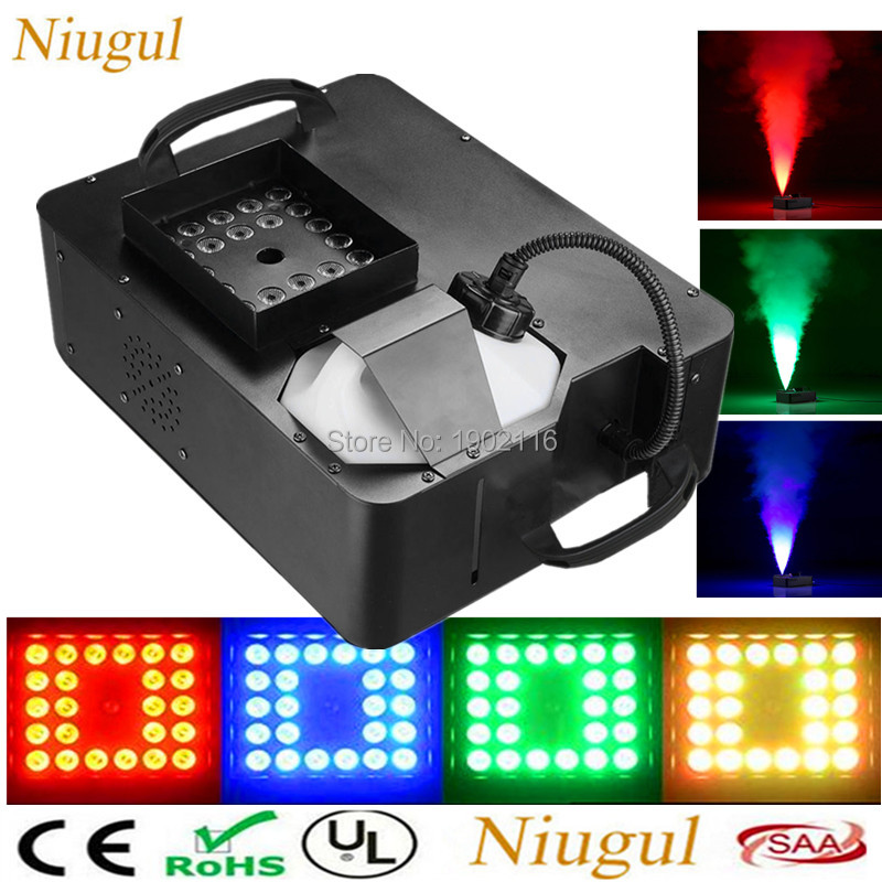 1500W RGB 3in1 (24pcs LED Light) Smoke Machine Remote Wrieless Control /DMX512 Stage Fog Machine Pyro Vertical RGB LED Fogger