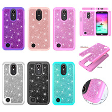 Case for LG K10 2017 Bling Glitter Dual Layer PC Silicone Back Capa Cover for LG K20 Plus Case K10 2017 Coque Phone Accessories