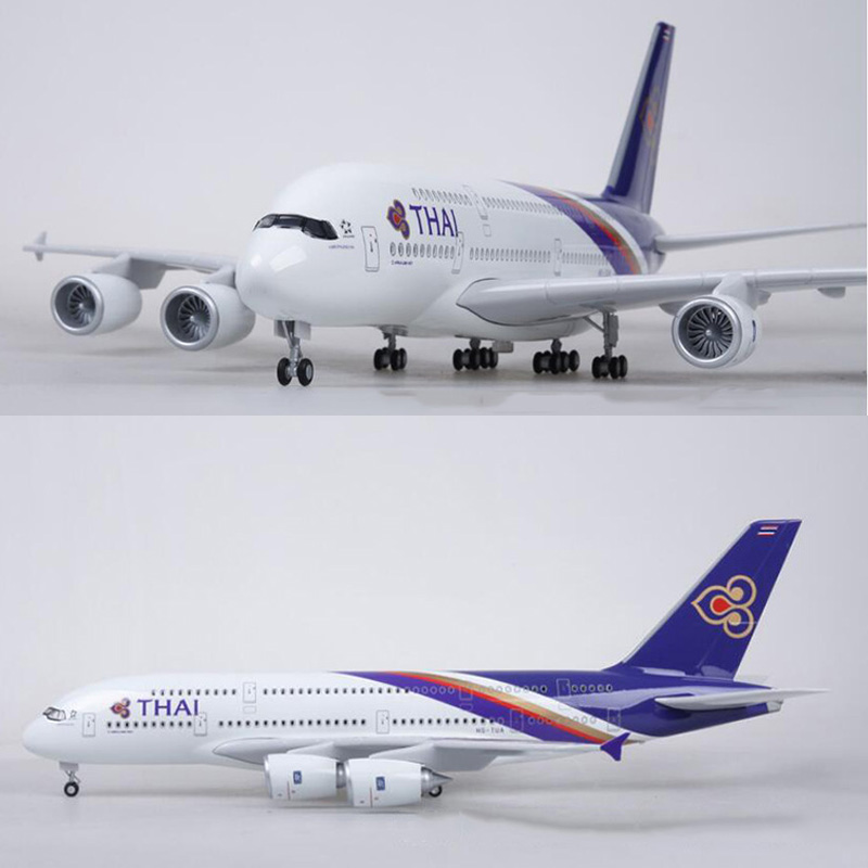 1 160 Scale 50 5CM Airplane Airbus A380 Thailand THAI Airline Model W Light and Wheel