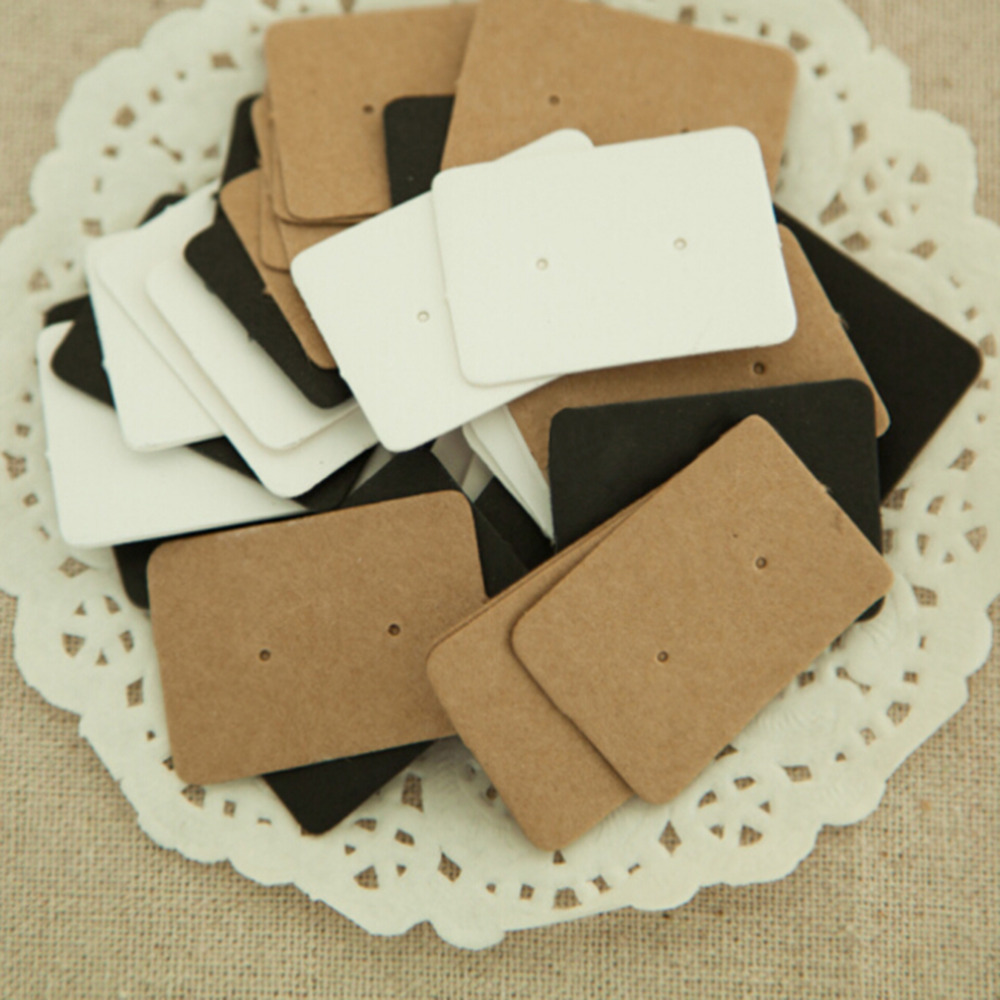 Earring Kraft Paper Tag 50Pcs Kraft Paper Ear Stud Hang Tag Jewelry Display Card Ear Ring Paper Hang Price Tag 2.5*3.5cm