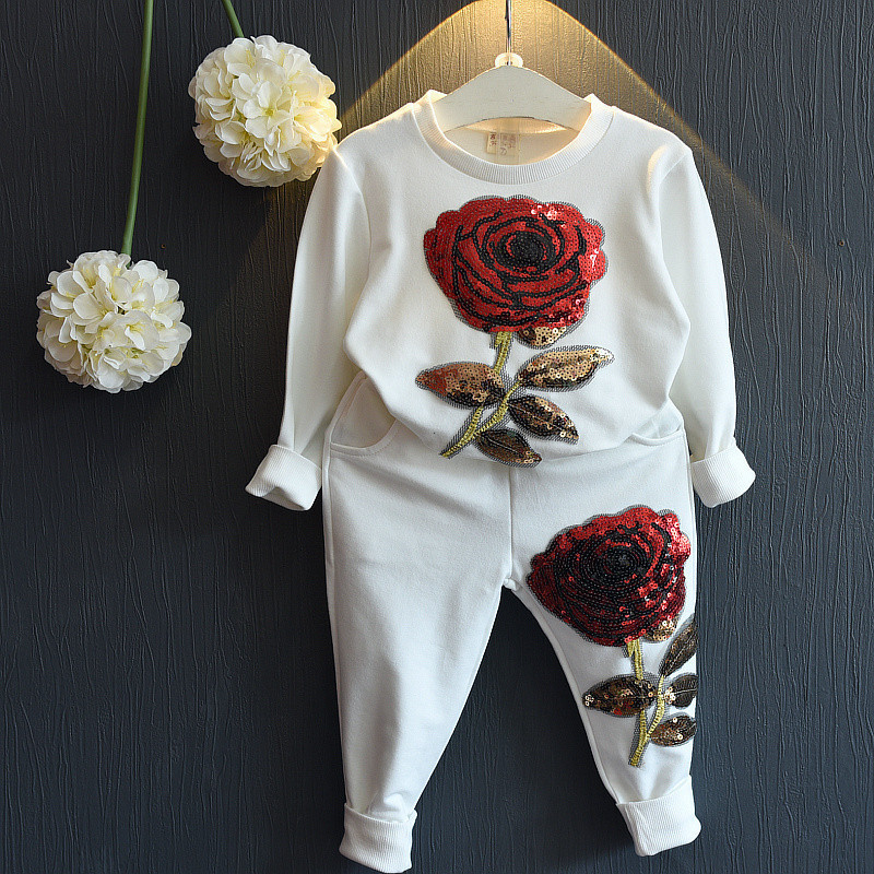 2017 spring autumn children's beautiful girl fashion baby clothes set baby girl sports leisure rose suit