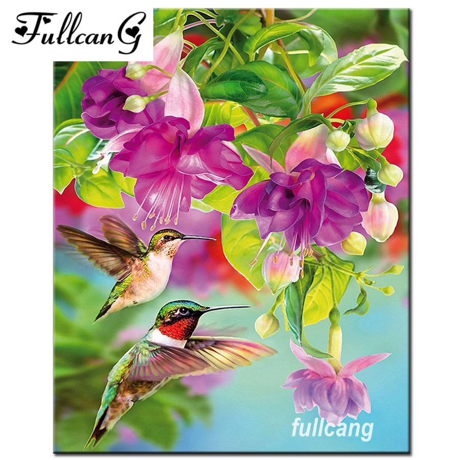 Fullcang 5d الماس التطريز الزهور والطيور - الفنون والحرف والخياطة