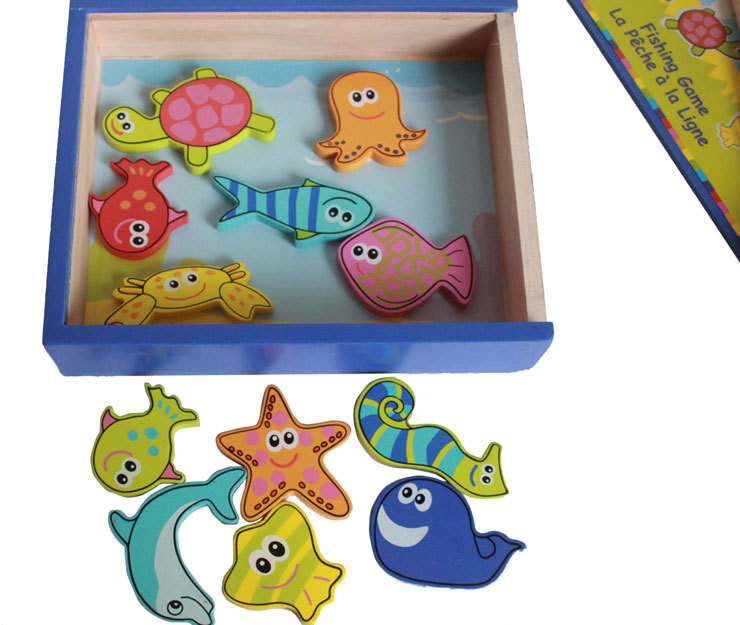 Free shipping Kids wooden educational magnetic fishing toy Children Fish board game Montessori Classic wood Fish educational toy in Fishing Toys from Toys Hobbies