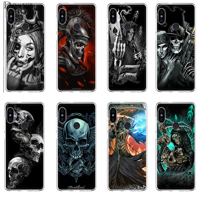 US $1 75 35% OFF|Phone Case Grim Reaper Skull Skeleton Luxury For Xiaomi Mi  5S 6 6X 8 SE A1 A2 Mix 2S Lite Redmi 6A Cover-in Half-wrapped Cases from
