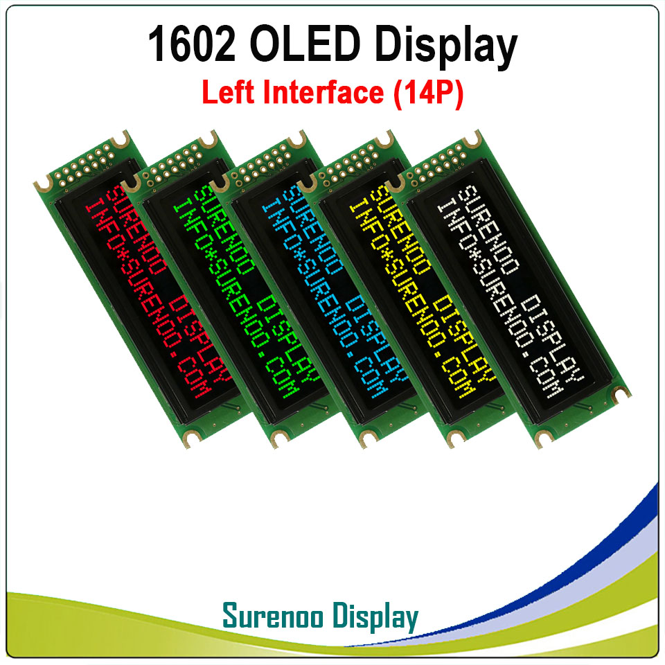 Real OLED Display, Left Parallel Interface Compatible With 1602 162 16*2 Character LCD Module Display LCM Screen Build-in WS0010