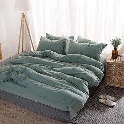 Gewassen katoen beddengoed set Effen dekbedovertrek set zachte grijze beddengoed Japanse stijl huis bed super kingsize beddengoed bed set