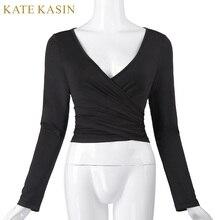 Kate Kasin Women Crop Top 2017 Long Sleeve Sexy V-Neck Crop Tops Designer Cross Wrap Black Shirt Cheap China Clothes