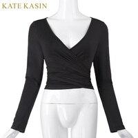 Kate Kasin Women Crop Top 2017 Long Sleeve Sexy V Neck Crop Tops Designer Cross Wrap