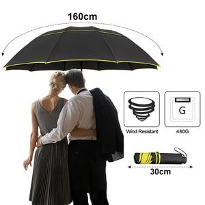 Image 2 - 130 Cm Dubbele Sterke Wind Slip Paraplu Regen Vrouwen Grote Opvouwbare Non Automatische Paraplu Mannen Familie Reizen Business Paraguas